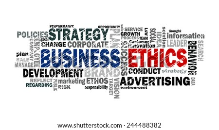 business ethics word cloud with related tags - stock photo