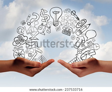 Business exchange concept as two human hands from diverse cultural backgrounds exchanging financial and economic information and training as a metaphor for team success. - stock photo