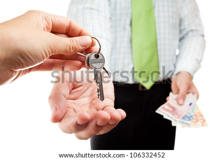 Business exchange with money and keys. - stock photo