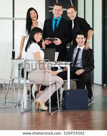 Business executives at a meeting discussing a work - stock photo