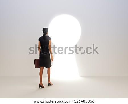 Business female key to success concept - stock photo
