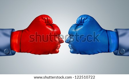 Business fight strategy with two boxing gloves in the shape of human faces head to head and facing each other as competitive rivals and opponents in a strategic competition.