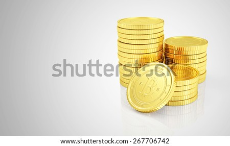 Business, Finance and Internet Online Payment System Concept. Stack of Golden Bitcoins Cryptocurrency on gradient reflective background with place for Your text - stock photo