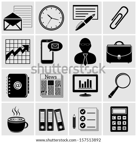 Business - Finance and Office icons - stock photo