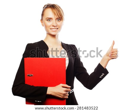 Business, finance and people concept: happy smiling business woman with thumbs up gesture - stock photo
