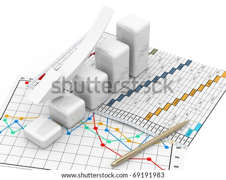 business finance chart, diagram, bar, graphic move down - stock photo