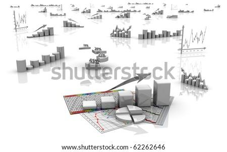 Business finance charts, diagrams, bar, graphics - stock photo