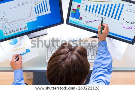Business, Finance, Computer. - stock photo