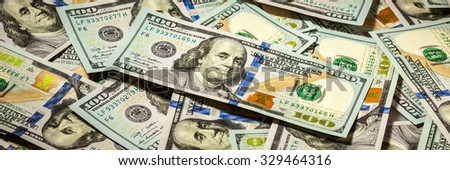 Business finance concept background  letterbox panorama of hundred dollars bank notes bills of new 2013 year edition - stock photo