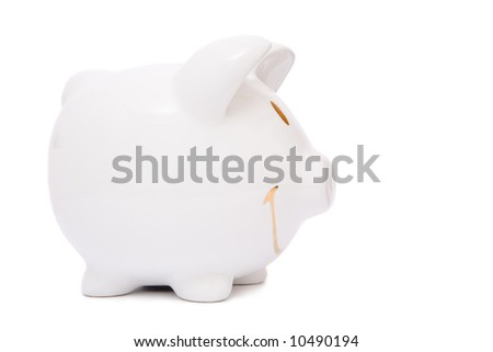 business finance concept with white piggy bank