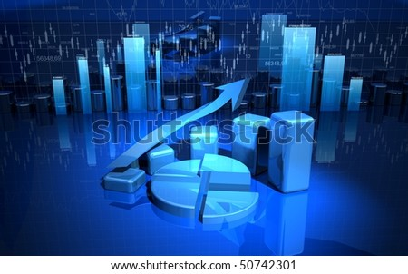 business finance graph, diagram, chart, bar - stock photo