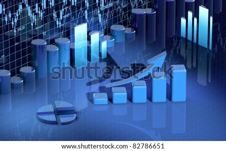 business finance image, bar, diagram, graphic, chart - stock photo