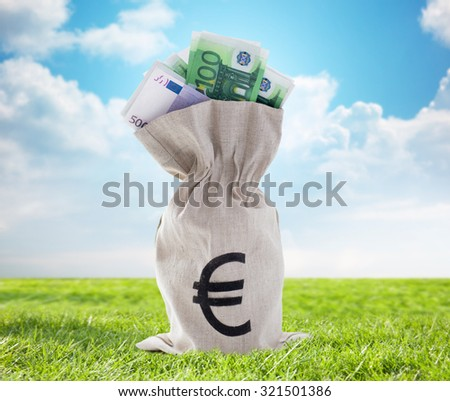 business, finance, investment, saving and cash concept - close up of euro paper money in bank bag over blue sky and grass background - stock photo