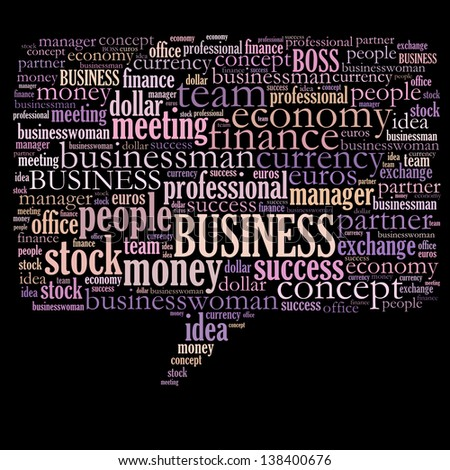 Business & finance related word cloud speech bubble