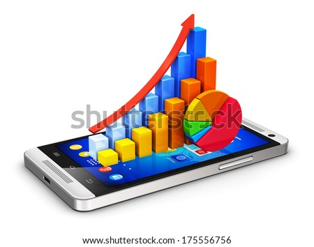 Business finance statistics and corporate analytics internet web concept: color bar graphs and pie chart on modern black glossy touchscreen smartphone or mobile phone isolated on white background