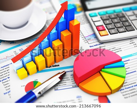 Business finance, tax, accounting, statistics and analytic research concept: office electronic calculator, bar graph charts, pie diagram and ballpoint pen on financial reports with colorful data - stock photo