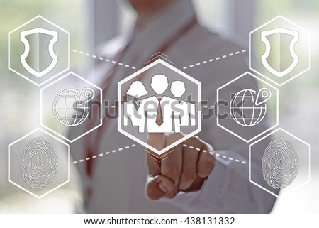 Business, finance, technology and internet concept - businesswoman pressing a group of businessmen button on virtual screens. Business group on a touch screen interface. Electronic business security. - stock photo
