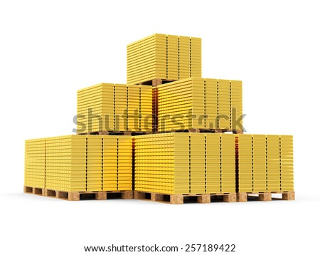 Business, Financial, Bank Gold Reserves Concept. Stack of Golden Bars on a Wooden Pallets isolated on white background  - stock photo