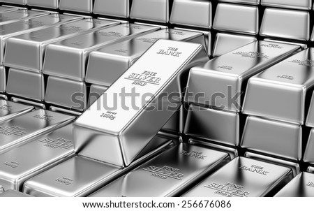 Business, Financial, Bank Silver Reserves Concept. Stack of Silver Bars in the Bank Vault Abstract Background - stock photo