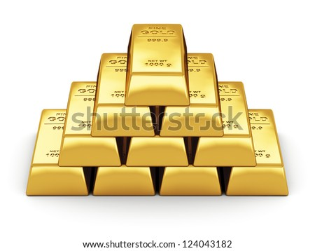 Business financial banking concept: set of gold bars isolated on white background - stock photo