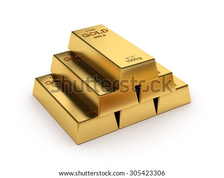 Business financial banking concept: set of gold bars isolated on white background