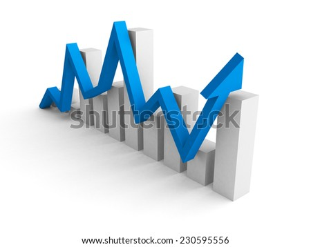 business financial bar graph with rising up blue arrow. 3d render illustration - stock photo