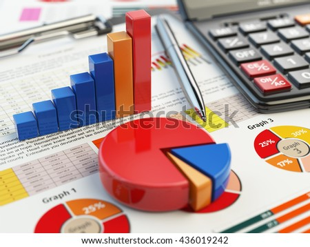 Business financial chart graph on clipboard isolated on white. Accounting, tax financial  report concept. 3d illustraion - stock photo