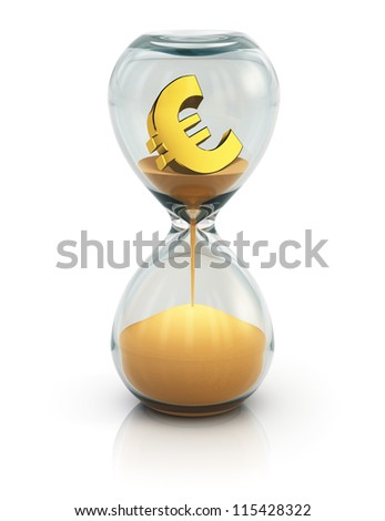 "Business financial concept ""Time is money"": vintage hourglass with golden Euro symbol inside and flowing sand isolated on white background with reflection effect - stock photo"