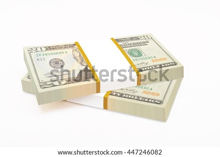 Business, financial success and making money concept, stacks of 20 US dollar banknotes or bills isolated on white background  - stock photo