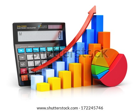 Business financial success, tax and accounting, statistics and analytic research concept: black office electronic calculator, color bar graph charts and pie diagram isolated on white background - stock photo