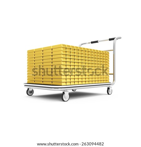 Business, Financial, Transportation of Bank Gold Reserves Concept. Stack of Golden Bars on Cart isolated on white background - stock photo