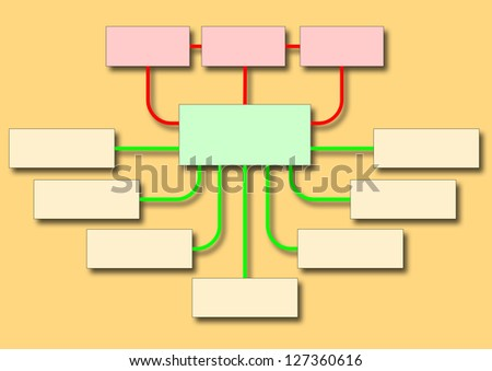business flowchart shows management structure and strategy - stock photo
