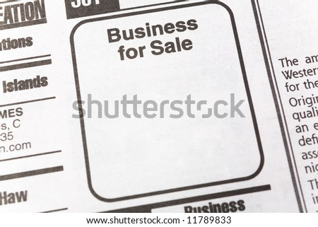 Business for Sale, newspaper Sales ad,  Business concept - stock photo