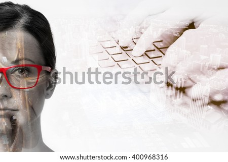 Business future in the double exposure - stock photo
