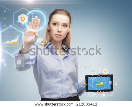 business, future technology, development and people concept - young businesswoman working with tablet pc and graph projections - stock photo