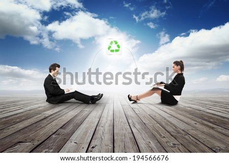 business girl and man working in recycling job - stock photo
