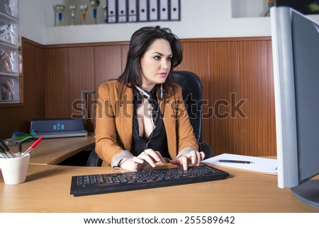 business girl in office - stock photo