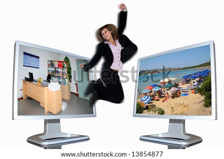 Business girl jumping: from lcd monitor to lcd monitor
