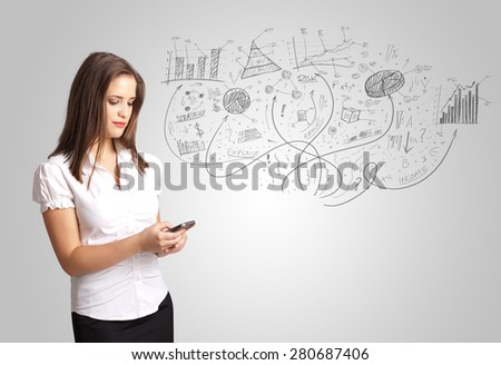 Business girl presenting hand drawn sketch graphs and charts concept - stock photo