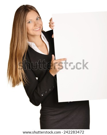 Business girl shows forefinger hand on the blank banner - stock photo
