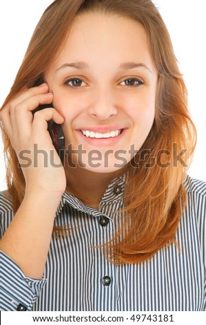 Business girl speaks by phone, isolated on white background. - stock photo