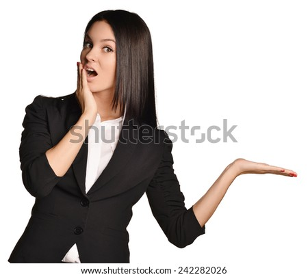 Business girl surprised that his hand is empty - stock photo