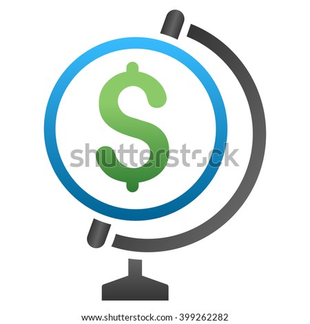 Business Globe glyph toolbar icon for software design. Style is a gradient icon symbol on a white background. - stock photo