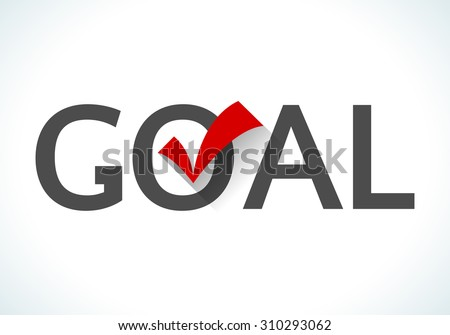 Business goal concept. Goal icon with red check mark on white background. Design ideas achieve execute goals and objectives. - stock photo