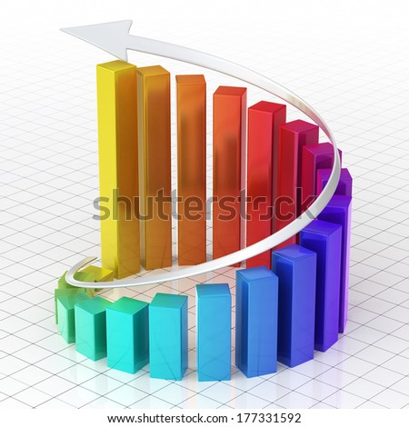 Business  Gradient color Graph Bar spiral moving up (close-up) - stock photo