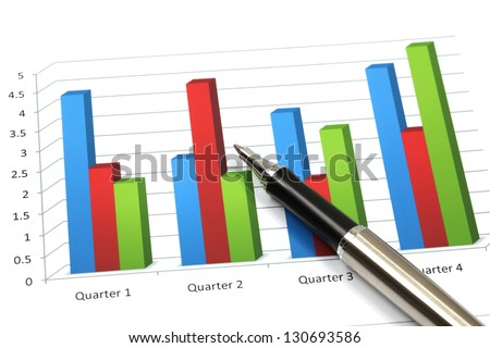 Business graph analysis report with pen