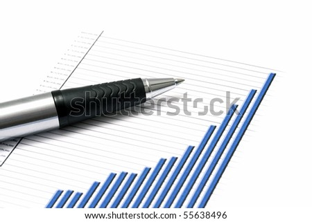 Business graph and a pen - stock photo