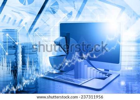 Business graph and chart - stock photo
