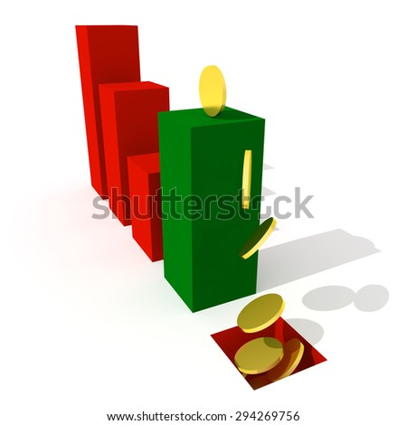Business graph and chart down trand 3d visualisation - stock photo