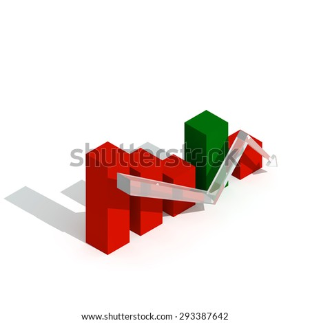 Business graph and chart down trend 3d visualization - stock photo